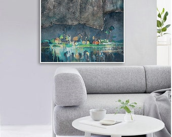 "Modern GICLEE PRINT, Fine Art print. Grey, dark blue, green colour print of ORIGINAL painting ""Night 2"" by Igors Bernats"