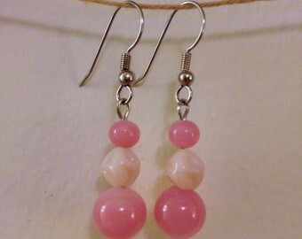 pink and creme glass drop earrings