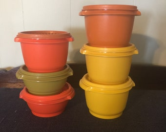 Vintage Tupperware servalier containers orange / yellow / green #886 1323