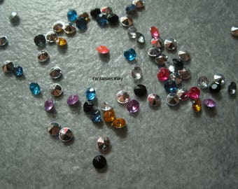 (STR3) Set of 100 rhinestone back point multicolor 3mm