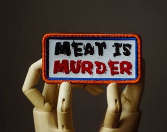 Meat is Murder Patch | Sew on | Embroidery | Patches for Jackets | Equality Patch | Animal Liberation Patch | Vegan Patch | Back Patch