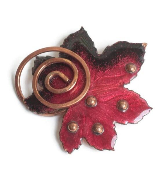 Matisse Red Enamel Copper Leaf Brooch Mid Century Designer Jewelry Vintage Pin