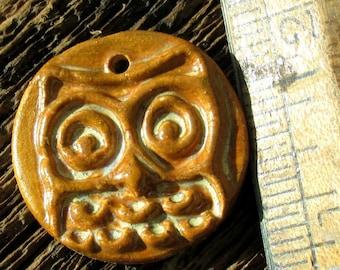 Owl Pendant, Ceramic Owl, Owl Jewelry, Clay Owl, clay pendant, OOAK Owl, Jewelry Owl, Ceramic Pendant, Handmade Owl Pendant, Handcrafted Owl