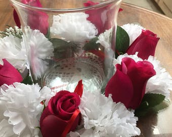 Center piece white carnations red roses  238