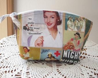 Clutch Purses, Nurse, Retro RN, Essential Oils Case, Nurse Purse, Nurse Cosmetic Bag, Zipper Clutch, Antiquebasketlady