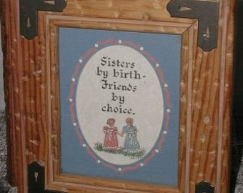 Photo Trinket Storage Box Handcrafted Solid Wood Glass Rustic Sisters by Birth Friends by Choice