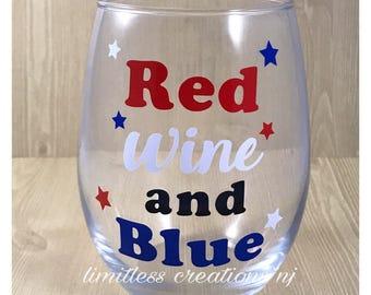 red wine & blue wine glass