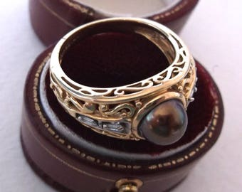 Pearl & Diamond Ring Filigree