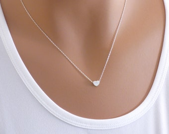 100% Sterling Silver Heart Necklace, Small Heart Necklace ,Dainty Necklace, Heart Necklace ,Silver Heart, Heart, Small Heart