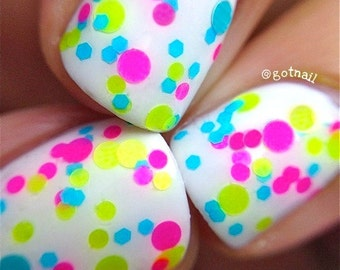 Beach Party- Polka Dot-NEON-Custom-Blended Indie Glitter Nail Polish / Lacquer