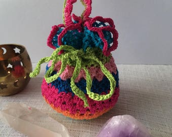 Colorful crocheted pouch bag
