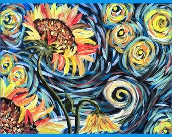 Sunflower Starry Night Painting