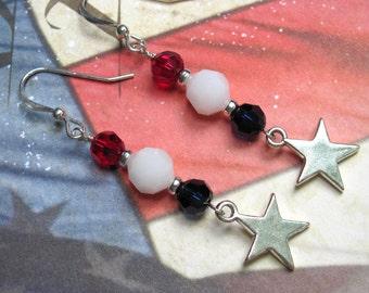 Sterling Star Earrings, Patriotic Earrings, Red, White and Blue Earrings, Holiday Earrings, Fourth of July Earrings, July 4th Earrings