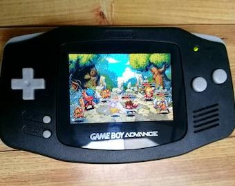 Backlit GBA Mod Nintendo GameBoy Advance Black with AGS101 Backlight Glass Lens Louder Speaker