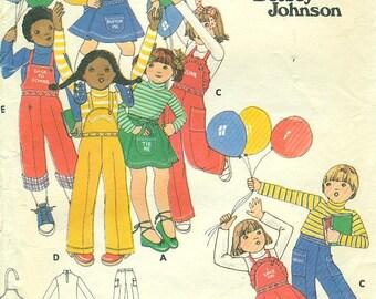 Butterick 4986  BETSEY JOHNSON  Toddler Size Choice Skirt Pants Bib Shirt Embroidery Transfers Vintage 1970s