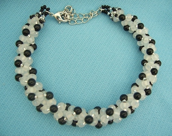 Spiral Spinal Bracelet with Black Stone beads