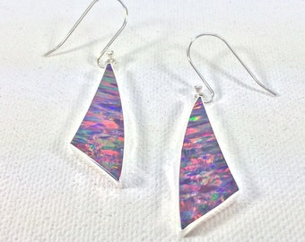Red Fire Opal Earrings // 925 Sterling Silver // Geometric Sail Shape // Purple Opal Earrings
