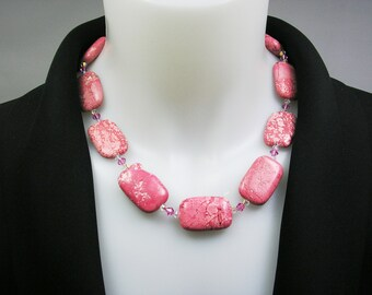 Pink Turquoise Necklace, Pink Necklace, Gemstone Jewelry, Handmade Necklace, Gift for Women, Fashion Jewelry, Dressy Jewelry, Career Wear