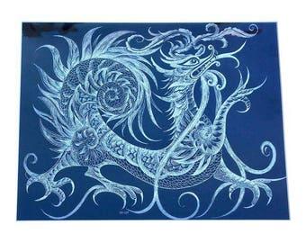 Sascha Brastoff Modernist Silver Foil Dragon Print