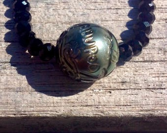 Engraved Tahitian Pearl Necklace