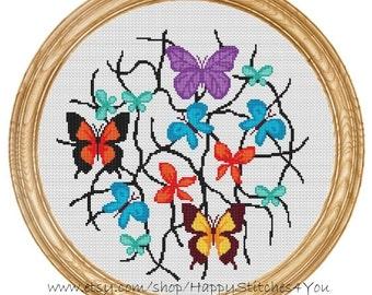 Cross Stitch Pattern PDF butterflies DD0164