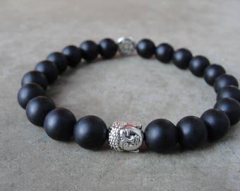 Matt schwarze Jade-Perlen-Armband. Buddha Zen Armband. Herrenschmuck. Einfache Minimal. Yoga-Schmuck. SydneyAustinDesigns.