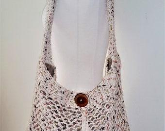 Crochet Market Tote, Crochet Market Bag, Farmers Market Tote, Crochet Bag, Eco-Friendly (tan)
