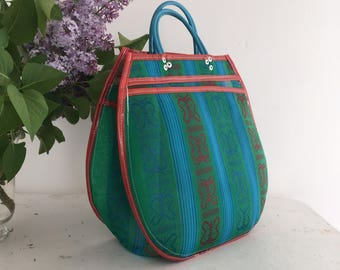 L - Green/Turquoise Butterfly tote bag