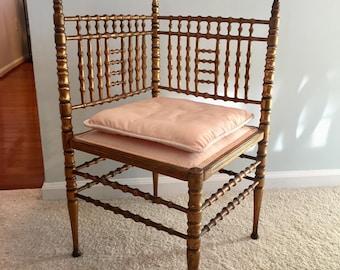 SOLD ~ Antique Gilt Wood Corner Chair