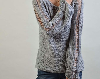 Hand Knit Woman Sweater - Eco Cotton sweater in light Grey-ready to ship