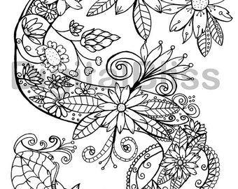 Adult Coloring Page INSTANT DOWNLOAD Monogram Floral S Coloring Page, Design Colouring Page, Kids Colouring Page, Kids Craft Activity