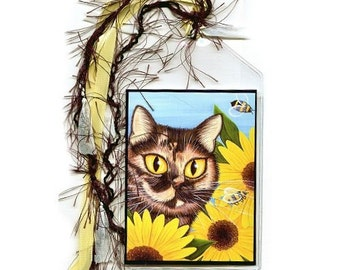 Tortoiseshell Cat Bookmark Sunflowers Bees Bookmarker Tortie Cat Painting Fantasy Cat Art Mini Bookmark Cat Lovers Gift