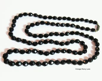 Vintage Glass Bead Necklace, French Jet Black, 38 Inch Long