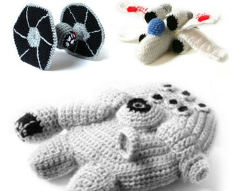 PDF of Star Wars Ships Amigurumi Crochet Patterns - Millennium Falcon - XWing - Tie Fighter