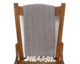 Pestemal Couch werfen Sofa Throw türkische Handtuch Tagesdecke Strand Decke handgewebte Baumwolle türkisches Bad Handtuch Spa Fouta Tuch GRAU CHEVRON LALE