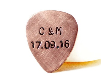 Personalized Guitar Pick. Custom Guitar Pick. Copper Guitar Pick. Husband Gift. Hand Stamped. Gift For Him. Initials. 7th Anniversary Gift