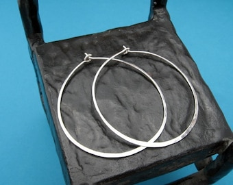 hammered silver hoops - ginormous, XXL, 16ga, 2.25 inch sterling