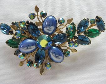 Green Blue Gold Rhinestone - brooch