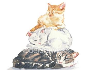Cat Watercolour - Orange Tabby PRINT, Kitten Painting, Nursery Art, Ginger Kitty, Animal Lover Gift, Nap Time