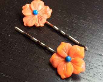 Tropical Citrus Mother of Pearl Flower Bobby Pin Pair in Orange and Turquoise