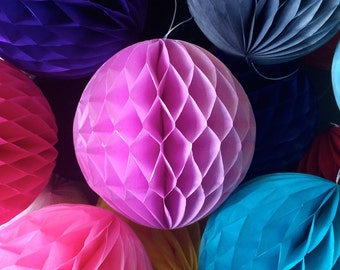 Lilac 4 Inch Honeycomb Tissue Paper Balls - Paper Party Decor Decoration Supplies