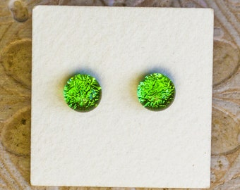 Dichroic Glass Earrings , Mineral Green  DGE-1413