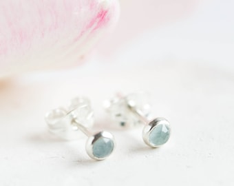 Aquamarine stud earrings, March Birthstone,  3mm or 5mm, sterling silver or 14k gold filled