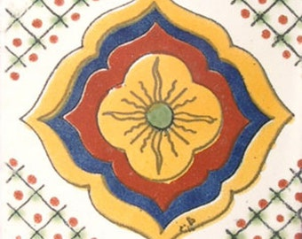 C#015))  Mexican Ceramic 4x4  inch Hand Made Tile