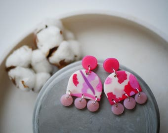 Statement jewelry, lightweight statement earrings, polymer clay dangle earrings, pink abstract earrings, colorful earrings, wearable art