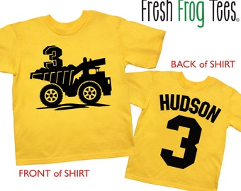 Dump Truck Shirt Personalized Double Sided Construction Birthday Shirt - any age and name - pick your colors!