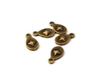 Ethnic antique bronze 5 drop charm
