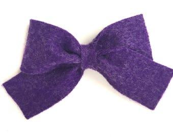 Purple felt hair bow - felt bows, hair bows, bows, hair clips, hair bows for girls, hair clip, hair clips for girls, baby bows, hairbows