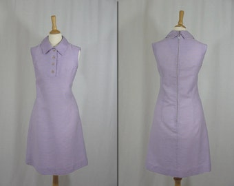 1960s Purple and White Stripe Scooter Dress * Size Small-Medium