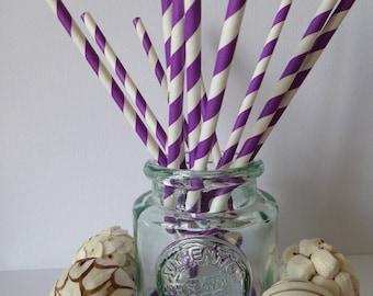 12 purple and white striped paper straws